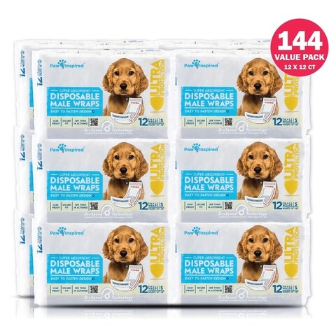 Paw Inspired Ultra Protection Disposable Male Wraps Belly Bands (Case of 144)