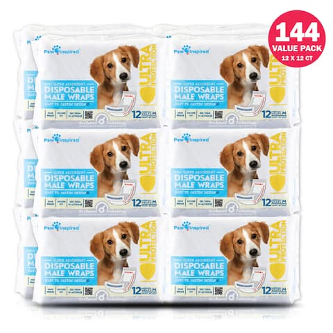 Paw Inspired 144ct Disposable Male Dog Wraps, Belly Band for Dogs, Disposable Dog Diapers, Belly Bands for Male Dogs