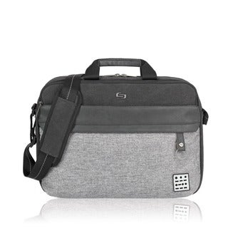 Solo Urban Code Black and Grey Polyester 15.6-inch Laptop Briefcase