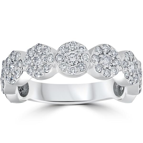 14K White Gold 1 1/2 ct TDW Halo Pave Diamond 3/4 Eternity Wedding Ring. Opens flyout.