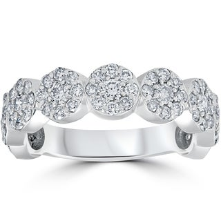 14K White Gold 1 1/2 ct TDW Halo Pave Diamond 3/4 Eternity Wedding Ring (I-J, I2-I3)