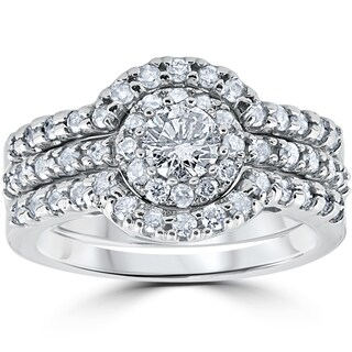 10k White Gold 1 1/10Ct Round Cut Diamond Trio Halo Engagement Guard Wedding Ring Set (I-J, I2-I3)