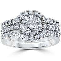 10k White Gold 1 1/10Ct Round Cut Diamond Trio Halo Engagement Guard Wedding Ring Set