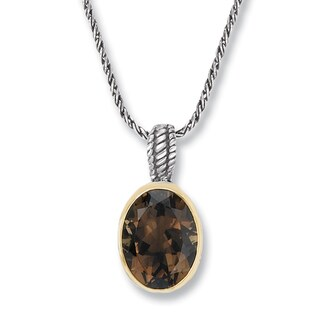 Avanti Sterling Silver and 14K Yellow Gold Oval Smoky Quartz Pendant Necklace