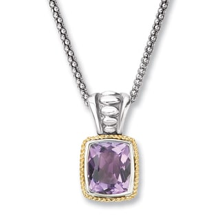 Avanti Sterling Silver and 14K Yellow Gold Emerald Shape Amethyst Pendant Necklace