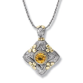 Avanti Sterling Silver and 18K Yellow Gold Round Citrine Pendant with Flower Accent Necklace