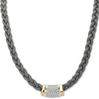 Avanti Palladium Silver and 18K Yellow Gold White Sapphire Pave Center with Mesh Chain Necklace