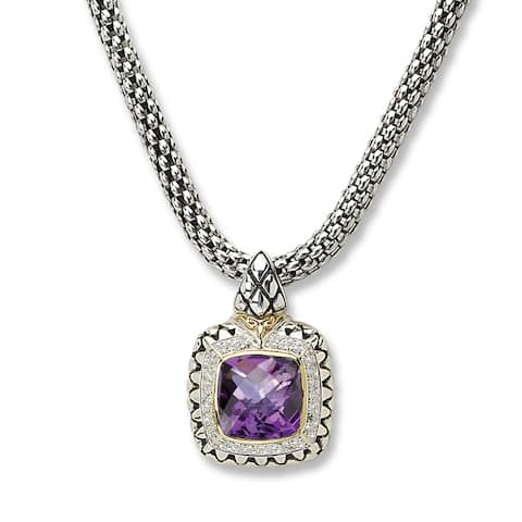 Avanti Palladium Silver and 18K Yellow Gold Cushion Amethyst and White Sapphire Halow Square Pendant Necklace