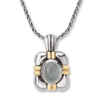 Avanti Sterling Silver and 14K Yellow Gold 5 1/2 CT TGW Oval Milky Aquamarine Pendant Necklace