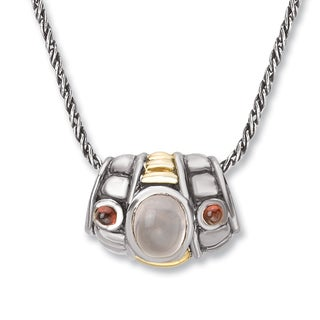 Avanti Sterling Silver and 14K Yellow Gold Rose Quartz and Garnet Slide Pendant Necklace