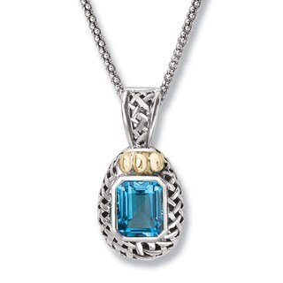 Avanti Sterling Silver and 14k Yellow Gold Emeral Cut Blue Topaz Lattice Design Pendant Necklace