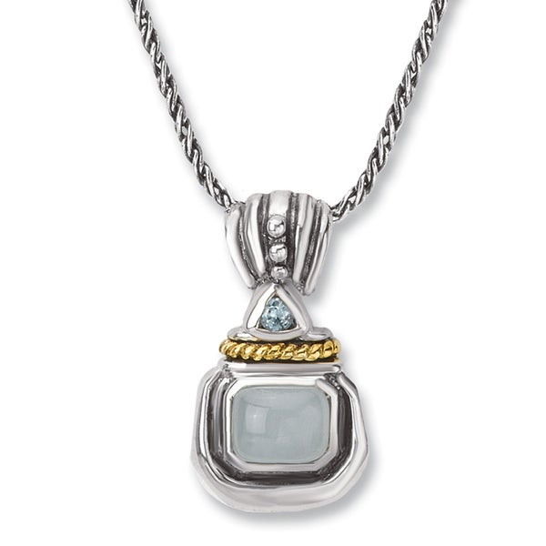Avanti Sterling Silver and 14K Yellow Gold Milky Aquamarine and Blue Topaz Pendant Necklace
