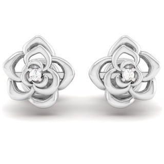 14k Gold 1/2ct TDW Round-cut White Diamond Flower Shaped Stud Earrings (I-J, I2-I3)