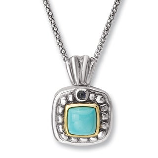 Aanti Sterling Silver and 14K Yellow Gold Cushion Turquoise and Iolite Square Shape Pendant Necklace