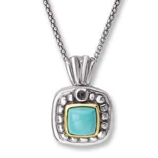 Aanti Sterling Silver and 14K Yellow Gold Cushion Turquoise and Iolite Square Shape Pendant Necklace|https://ak1.ostkcdn.com/images/products/13457396/P20146222.jpg?impolicy=medium