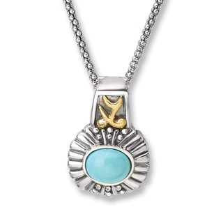Avanti Sterling Silver and 14K Yellow Gold Oval Turquoise Pendant Necklace
