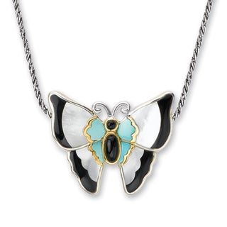Avanti Sterling Silver and 14K Yellow Gold Black Onyx, Mother of Pearl and Jade Slide Pendant Necklace