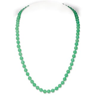 Avanti 14K Yellow Gold Australian Round Natural Color Jade Necklace (5.5 mm)