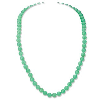 Avanti 14K Yellow Gold Australian Round Natural Color Jade Necklace (6.5 mm)