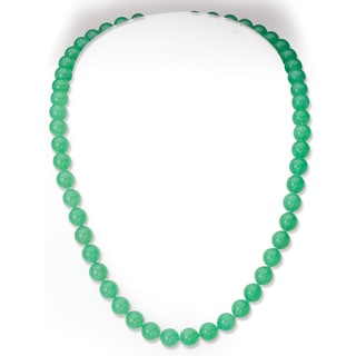 Avanti 14K Yellow Gold Australian Round Natural Color Jade Necklace (7.5 mm)