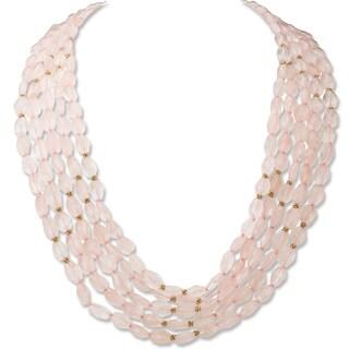 Avanti 14K Yellow Gold Rose Quartz Five Strand Necklace