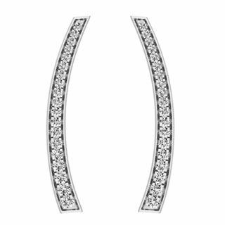 10k Gold 1/3ct TDW Round-cut White Diamond Curved Bar Ear Climber Earrings (I-J, I2-I3)