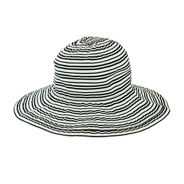 969af858993 Women  x27 s San Diego Hat Company Wide Striped Ribbon Wired Sun Brim Hat