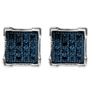 Platinum over Silver Men's Blue Diamond Accent Hip Hop Stud Earrings (I2-I3)