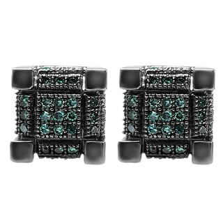 Sterling Silver 1/5ct TDW Round Blue Diamond Iced Men's Hip Hop Cube Dice Shape Stud Earrings (I2-I3)