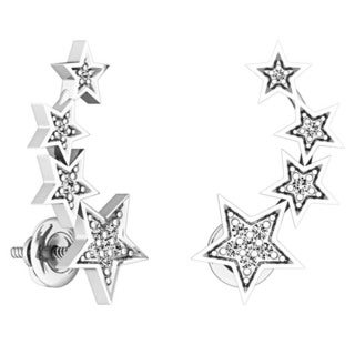 Sterling Silver 1/10ct TDW Round-cut White Diamond Stars Shaped Climber Earrings (I-J, I2-I3)