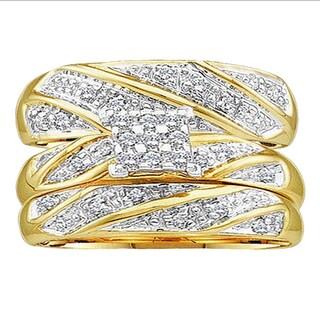 10k Yellow Gold 1/3ct TDW Round-cut White Diamond Men and Women's Cluster Engagement Ring Trio Bridal Set (H-I, I1-I2)