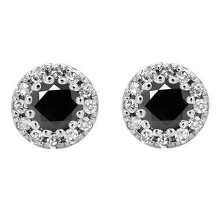10k White Gold 1/5ct TDW Round Black and White Diamond Cluster Halo Style Stud Earrings (I-J, I2-I3)