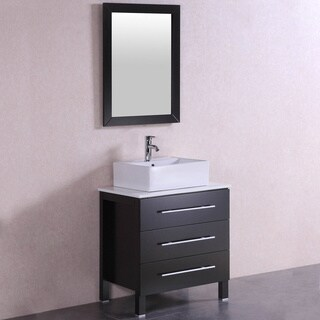 28 inch Belvedere Modern Freestanding Espresso Bathroom Vanity w/ Vessel Sink