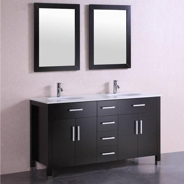 Shop 60 inch belvedere modern espresso double sink - Freestanding double bathroom vanity ...
