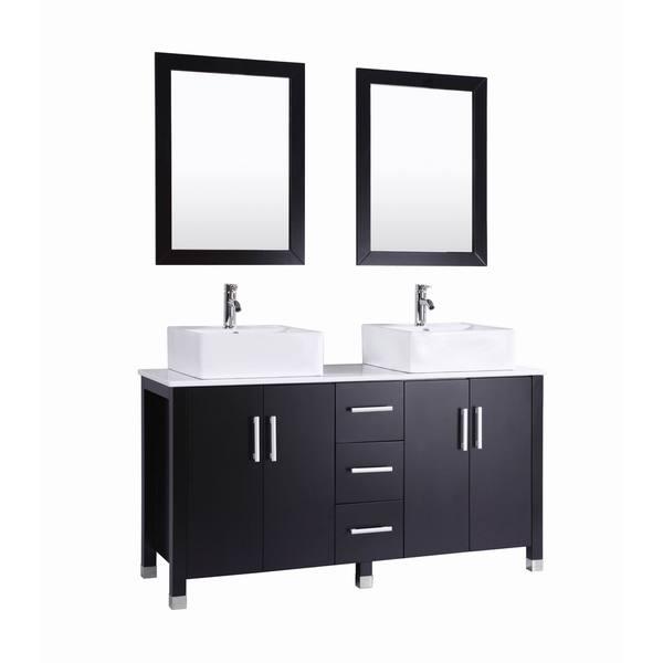 60 Inch Belvedere Modern Espresso Double Vessel Sink Bathroom Vanity Free Shipping Today
