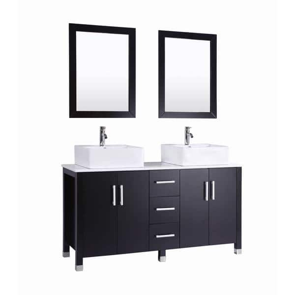 Shop 60 Inch Belvedere Modern Espresso Double Vessel Sink Bathroom