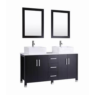 60 inch Belvedere Modern Espresso Double Vessel Sink Bathroom Vanity