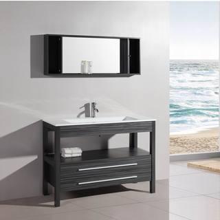 48 inch Belvedere Freestanding Modern Veneer Bathroom Vanity w/ Stone Top