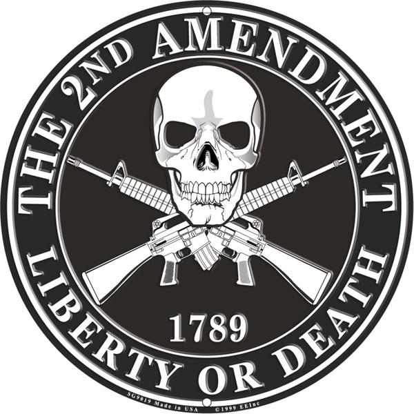 The 2nd Amendment 1789 Liberty Or Death Black Aluminum Sign