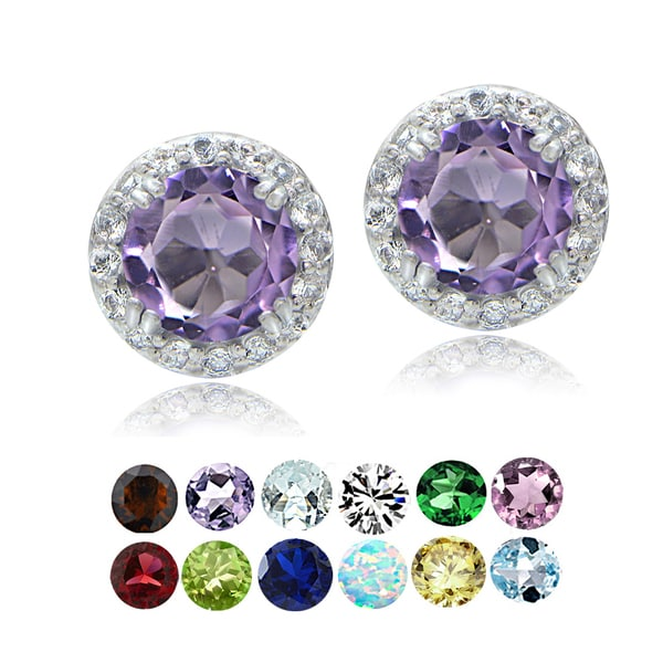Glitzy Rocks Sterling Silver Gemstone & White Topaz Halo Stud Earrings