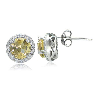 Glitzy Rocks Sterling Silver Gemstone & White Topaz Halo Stud Earrings (Option: Citrine/Topaz - White/Yellow - November)