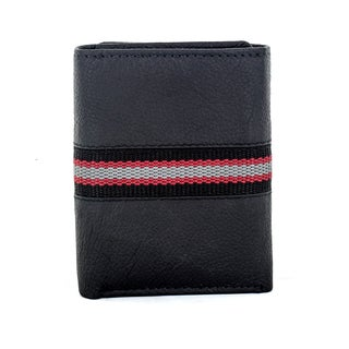 Faddism Men's Murchison Black Fabric and Leather Trifold Wallet