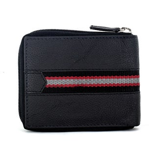 Faddism Men's Murchison Black Leather and Fabric Zip-around Wallet