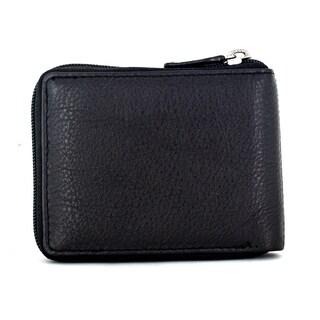 Faddism Vermont Black Leather Men's Zip-around Wallet