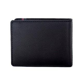 Faddism Men's Mission Black Leather Bifold Wallet