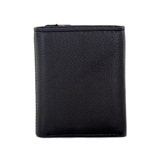 Faddism Mission Men's Black/Brown Leather Trifold Wallet