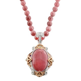 One-of-a-kind Michael Valitutti Rose Quartz, Rhodochrosite, Ruby and White Sapphire Pendant