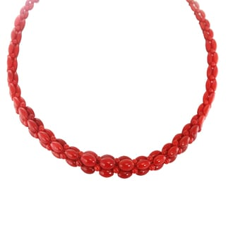 "One-of-a-kind Michael Valitutti Palladium Silver Oval Red Coral 18"" Graduated Necklace with Magnetic clasp"
