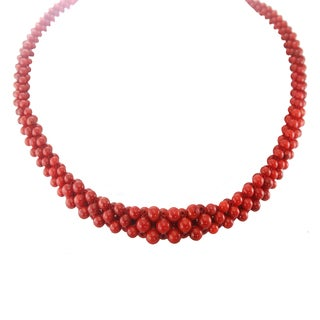 "One-of-a-kind Michael Valitutti Palladium Silver Red Coral 18"" Graduated Necklace"