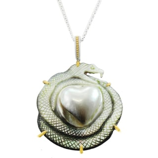 One-of-a-kind Michael Valitutti Palladium Silver Tahitian Mabe Pearl Snake with Heart Pendant